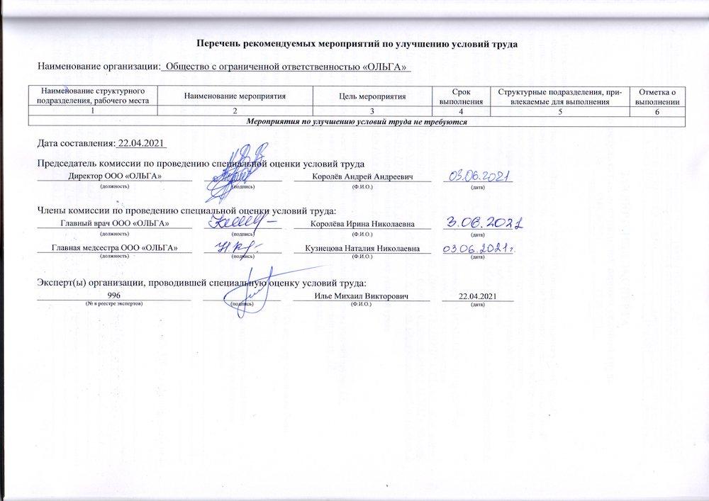 Перечень рекомендуемых мероприятий по улучшению условий труда ООО «Ольга»